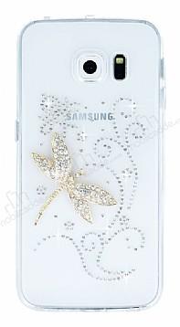 Samsung Galaxy S6 Edge Taşlı Yusufçuk Şeffaf Silikon Kılıf