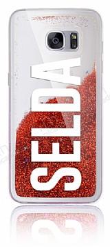 Samsung Galaxy S7 Edge Kişiye Özel Simli Sulu Kırmızı Rubber Kılıf
