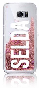 Samsung Galaxy S7 Edge Kişiye Özel Simli Sulu Rose Gold Rubber Kılıf