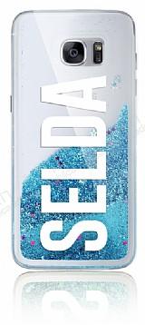Samsung Galaxy S7 Edge Kişiye Özel Simli Sulu Mavi Rubber Kılıf
