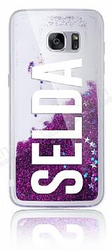 Samsung Galaxy S7 Edge Kişiye Özel Simli Sulu Mor Rubber Kılıf
