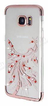 Samsung Galaxy S7 Edge Rose Gold Peacock Taşlı Şeffaf Silikon Kılıf