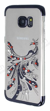Samsung Galaxy S7 Edge Siyah Peacock Taşlı Şeffaf Silikon Kılıf