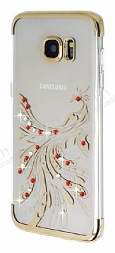 Samsung Galaxy S7 Edge Gold Peacock Taşlı Şeffaf Silikon Kılıf