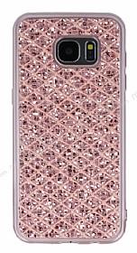 Samsung Galaxy S7 Edge Simli Kumaş Rose Gold Silikon Kılıf