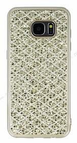 Samsung Galaxy S7 Edge Simli Kumaş Gold Silikon Kılıf