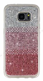 Samsung Galaxy S7 Edge Taşlı Geçişli Pembe Silikon Kılıf