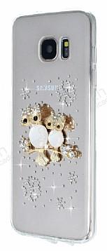Samsung Galaxy S7 Edge Taşlı Baykuş Şeffaf Silikon Kılıf