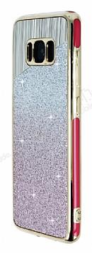 Samsung Galaxy S8 Plus Pembe Kenarlı Simli Pembe Silikon Kılıf