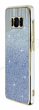 Samsung Galaxy S8 Beyaz Kenarlı Simli Mavi Silikon Kılıf