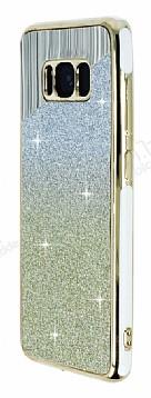 Samsung Galaxy S8 Beyaz Kenarlı Simli Sarı Silikon Kılıf