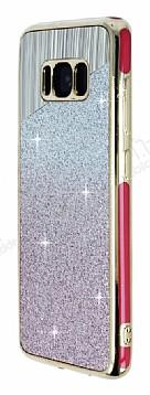 Samsung Galaxy S8 Pembe Kenarlı Pembe Simli Silikon Kılıf