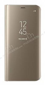 Samsung Galaxy S8 Orjinal Clear View Uyku Modlu Standlı Kapaklı Gold Kılıf