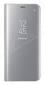 Samsung Galaxy S8 Orjinal Clear View Uyku Modlu Standlı Kapaklı Silver Kılıf
