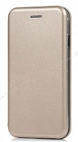 Samsung Galaxy A7 2018 Curve Manyetik Kapaklı Gold Deri Kılıf