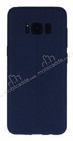 Samsung Galaxy S8 Deri Desenli Ultra İnce Lacivert Silikon Kılıf