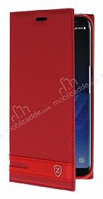 Samsung Galaxy S8 Gizli Mıknatıslı Yan Kapaklı Kırmızı Deri Kılıf