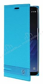 Samsung Galaxy S8 Gizli Mıknatıslı Yan Kapaklı Mavi Deri Kılıf