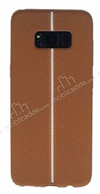 Samsung Galaxy S8 Kadife Dokulu Kahverengi Silikon Kılıf