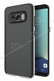 Eiroo Carbon Hybrid Samsung Galaxy S8 Silver Kenarlı Karbon Siyah Silikon Kılıf