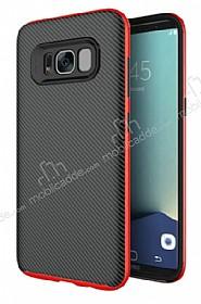 Eiroo Carbon Hybrid Samsung Galaxy S8 Kırmızı Kenarlı Karbon Siyah Silikon Kılıf