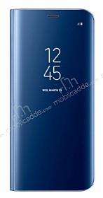 Samsung Galaxy S8 Orjinal Clear View Uyku Modlu Standlı Kapaklı Mavi Kılıf