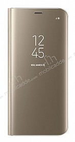 Samsung Galaxy S8 Plus Orjinal Clear View Standlı Kapaklı Gold Kılıf