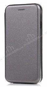 Samsung Galaxy S8 Plus Curve Manyetik Kapaklı Silver Deri Kılıf