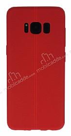 Samsung Galaxy S8 Plus Deri Desenli Ultra İnce Kırmızı Silikon Kılıf