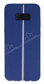Samsung Galaxy S8 Plus Kadife Dokulu Lacivert Silikon Kılıf