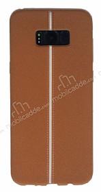 Samsung Galaxy S8 Plus Kadife Dokulu Kahverengi Silikon Kılıf
