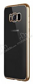 Samsung Galaxy S8 Plus Gold Kenarlı Şeffaf Silikon Kılıf