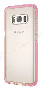 Samsung Galaxy S8 Plus Pembe Kenarlı Şeffaf Silikon Kılıf