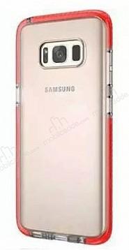 Samsung Galaxy S8 Plus Kırmızı Kenarlı Şeffaf Silikon Kılıf