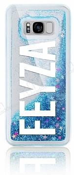 Samsung Galaxy S8 Plus Kişiye Özel Simli Sulu Mavi Rubber Kılıf
