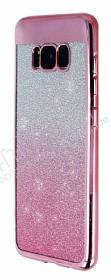 Samsung Galaxy S8 Plus Simli Parlak Pembe Silikon Kılıf