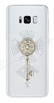 Samsung Galaxy S8 Plus Taşlı Anahtar Şeffaf Silikon Kılıf