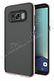 Eiroo Carbon Hybrid Samsung Galaxy S8 Rose Gold Kenarlı Karbon Siyah Silikon Kılıf