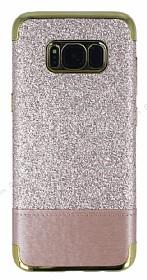 Samsung Galaxy S8 Simli Deri Rose Gold Silikon Kılıf