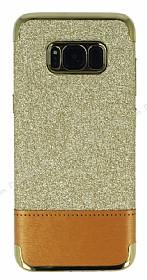 Samsung Galaxy S8 Simli Deri Gold Silikon Kılıf