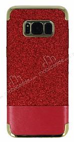 Samsung Galaxy S8 Simli Deri Kırmızı Silikon Kılıf