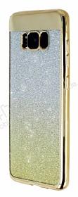 Samsung Galaxy S8 Simli Parlak Gold Silikon Kılıf