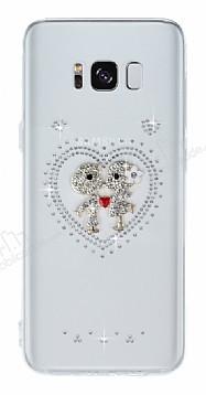 Samsung Galaxy S8 Taşlı Love Şeffaf Silikon Kılıf