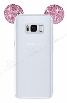 Samsung Galaxy S8 Taşlı Kulaklı Pembe Silikon Kılıf