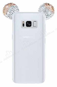 Samsung Galaxy S8 Taşlı Kulaklı Gold Silikon Kılıf