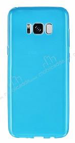 Samsung Galaxy S8 Ultra İnce Şeffaf Mavi Silikon Kılıf