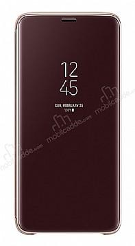 Samsung Galaxy S9 Plus Orjinal Clear View Uyku Modlu Standlı Gold Kılıf