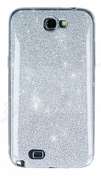 Samsung N7100 Galaxy Note 2 Simli Silver Silikon Kılıf