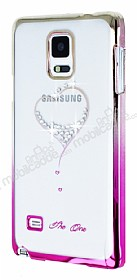 Samsung N9100 Galaxy Note 4 Taşlı Pembe Winged Heart Rubber Kılıf