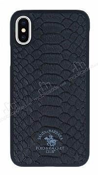 Santa Barbara Knight iPhone X Deri Siyah Rubber Kılıf
